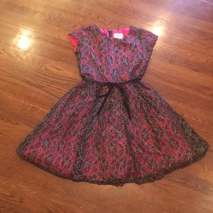 Pink and black flower laced special occasion dress